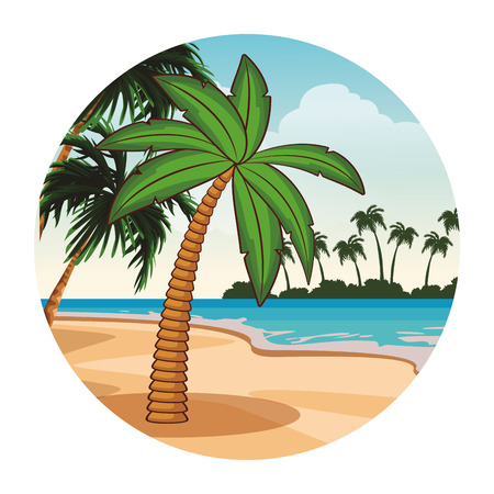 Palm tree cartoon in the beach cartoons vector illustration graphic design