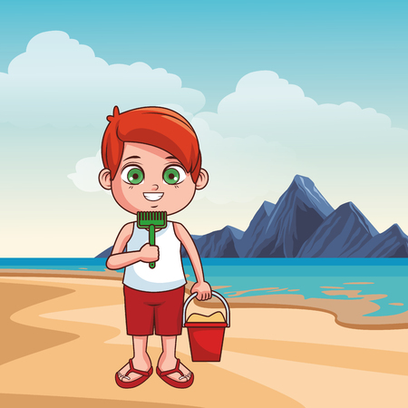 Summer kids boy with shovel in the beach cartoon vector illustration graphic design Ilustrace
