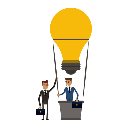 Business coworkers with briefcases on hot air balloon vector illustration graphic design