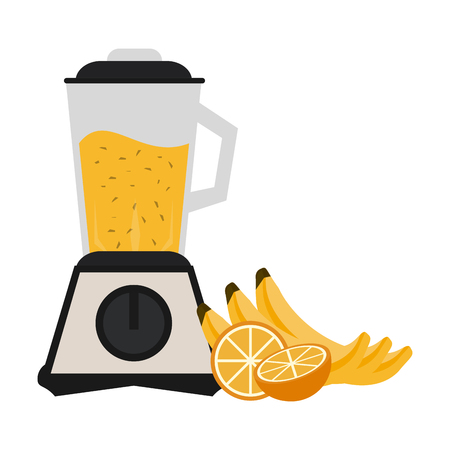 Fruit juice and smoothie bananas and orange with blender vector illustration graphic design