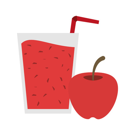 Fruit juice and smoothie apple cup with straw vector illustration graphic design
