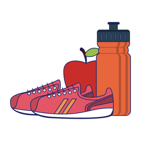 Fitness and sport elements shoes apple and thermo vector illustration graphic design Vettoriali