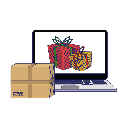 Online christmas shopping with laptop vector illustration graphic design