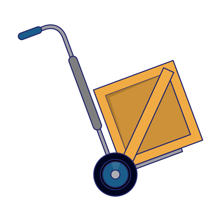 Delivery and logistics handtruck with box vector illustration graphic design Stock Illustratie