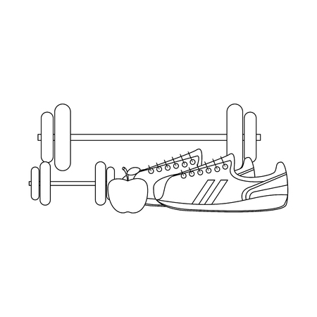 Fitness and healthy lifestyle dumbbells apple and shoe vector illustration graphic design