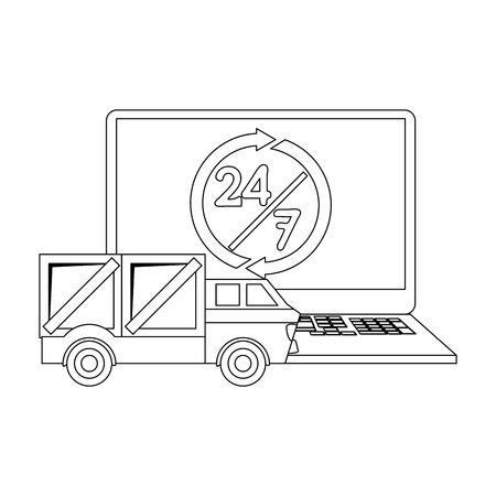 Entrega y envío en línea con diseño gráfico de ilustración de vector de computadora portátil