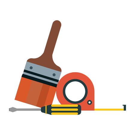 tools brush measurement tape and screwdriver construction tool isolated vector illustration graphic design