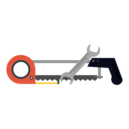 tools hacksaw and wrech with measurement tape vector illustration graphic design Illustration