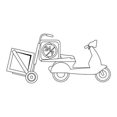 Fast delivery and logistics in scooter vector illustration graphic design
