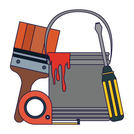 tools paint bucket and screwdriver with measurement tape vector illustration graphic design