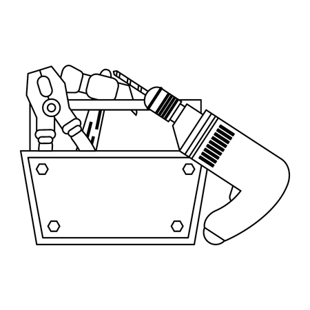 toolbox with plier hammer and drill vector illustration graphic design