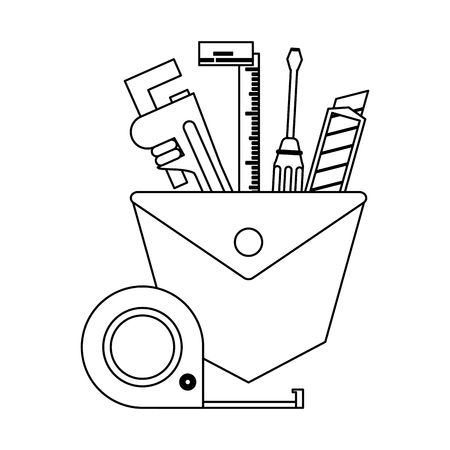 toolbox with plier screwdriver and scalpel vector illustration graphic design