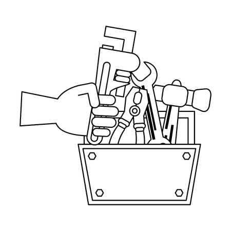 toolbox with wrench plier and hammer vector illustration graphic design