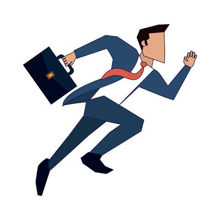 Hombre de negocios corriendo con maletín ilustración vectorial diseño gráfico