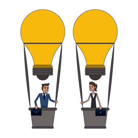 Business coworkers in hot air balloons with briefcases vector illustration graphic design