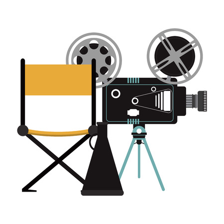 cinema camera with director chair and 3d glasses vector illustration graphic design Illustration