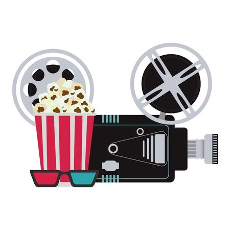 cinema camera with pop corn and 3d glasses vector illustration graphic design