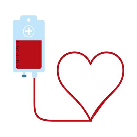 Blood donation bag and heart shaped vector illustration graphic design Illustration