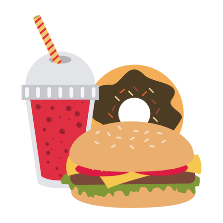 Fast food combo burger and donut with soda vector illustration graphic design