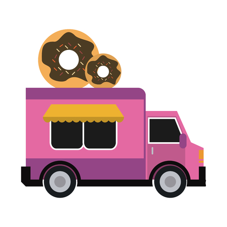 Food truck donut restaurant vector illustration graphic design