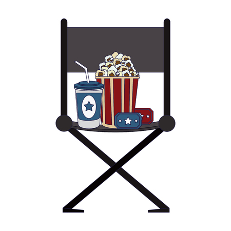 cinema director chair with pop corn with tickets and soda cup vector illustration graphic design