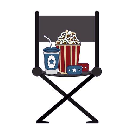 Kino-Regisseur-Stuhl mit Popcorn mit Tickets und Soda-Cup-Vektor-Illustration-Grafik-Design