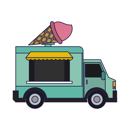 Food truck ice cream restaurant vector illustration graphic design