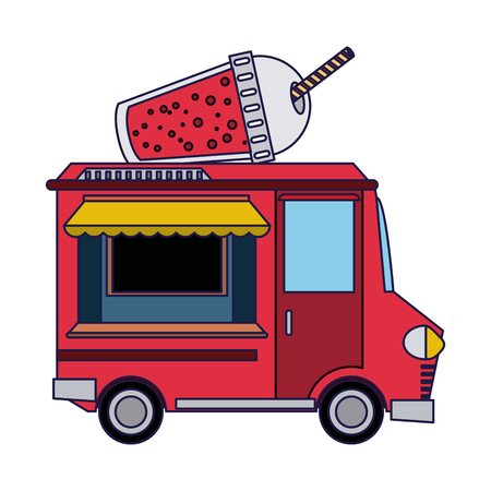 Food truck smoothie restaurant vector illustration graphic design