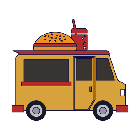 Food truck burger restaurant vector illustration graphic design