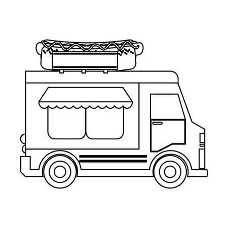 Food truck hot dog restaurant vector illustration graphic design