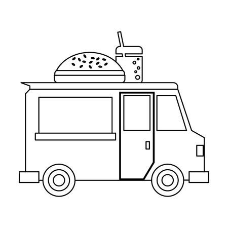 Food truck burger restaurant vector illustration graphic design