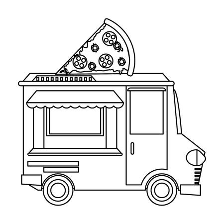 Food truck pizza restaurant vector illustration graphic design