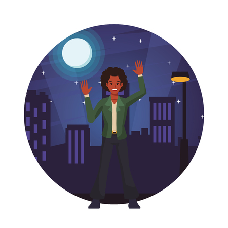 Disco man dancing in the city cartoon round icon vector illustration graphic design