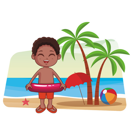 Summer boy with float cartoon in the beach cartoons in the beach cartoons vector illustration graphic design
