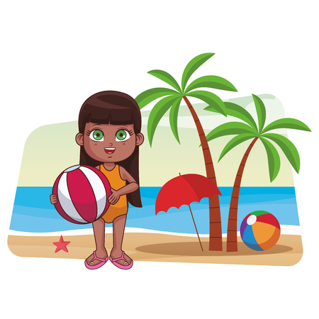 Summer girl with beach ball cartoon in the beach cartoons in the beach cartoons vector illustration graphic design