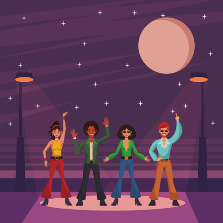 Disco people band dancing and singing on street cartoons vector illustration graphic design