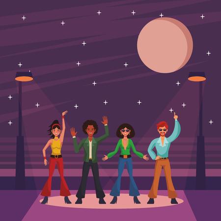 La gente della discoteca band balla e canta su cartoni animati di strada illustrazione vettoriale graphic design
