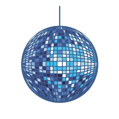 Progettazione grafica dell'illustrazione di vettore del fumetto isolata palla da discoteca Vettoriali