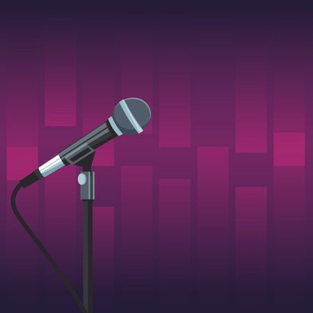 Stage microphone over purple background vector illustration graphic design