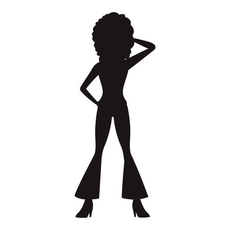 Disco woman dancing black silhouette vector illustration graphic design
