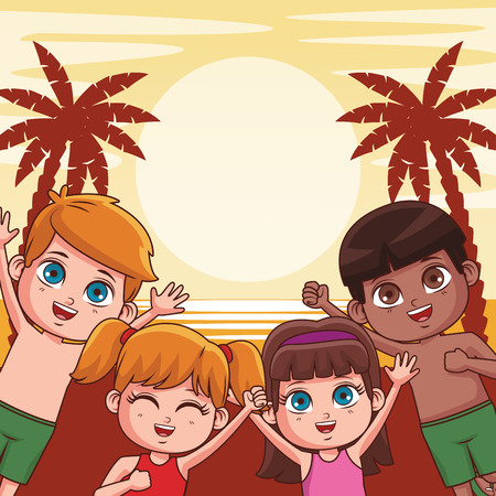 Summer kids boys and girls in the beach cartoon vector illustration graphic design Stockfoto - 126868771