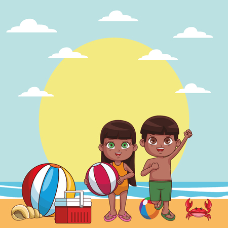 Summer kids in the beach cartoon vector illustration graphic design