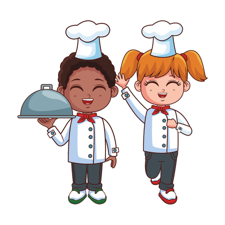 Chef boy and girl cartoons vector illustration graphic design