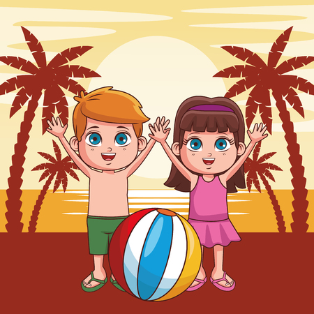 Summer boy and girl with ball in the beach cartoon vector illustration graphic design
