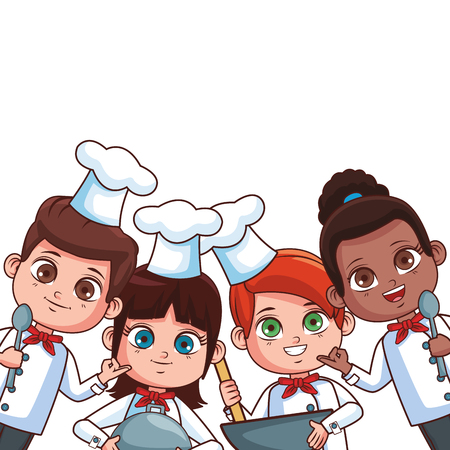 Chef kids with utensils frame cartoons vector illustration graphic design