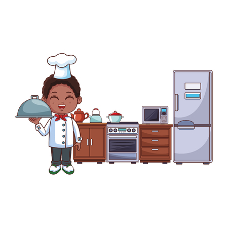 Chef boy with dish dome cartoon cooking in the kitchen vector illustration graphic design Ilustração