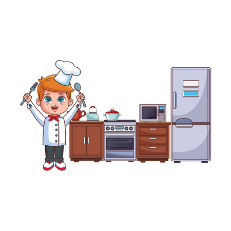 Chef boy with fork and knife cartoon cooking in the kitchen vector illustration graphic design