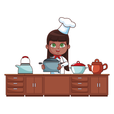Chef girl with pot cartoon cooking in the kitchen vector illustration graphic design