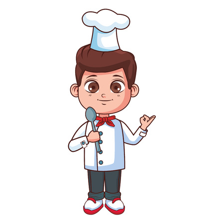 Chef boy with spoon cartoon vector illustration graphic design