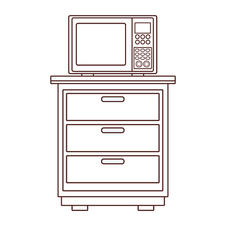 Microwave on kitchen cabinet vector illustration graphic design